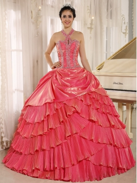 Discount Halter Watermelon Pleat Quinceanera Dress With Beaded Bodice