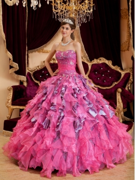 Discount Hot Pink Ball Gown Sweetheart Floor-length Beading Leopard and Organza Quinceanera Dress