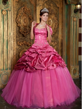 Discount Hot Pink Ball Gown Sweetheart Floor-length Taffeta and Organza Appliques Quinceanera Dress