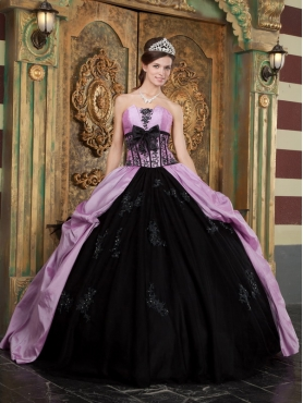 Discount Lavender Ball Gown Strapless Floor-length Taffeta Appliques Quinceanera Dress