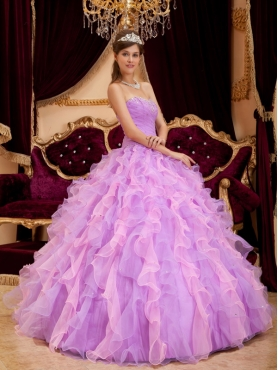 Discount Lavender Ball Gown Sweetheart Floor-length Organza Beading Quinceanera Dress