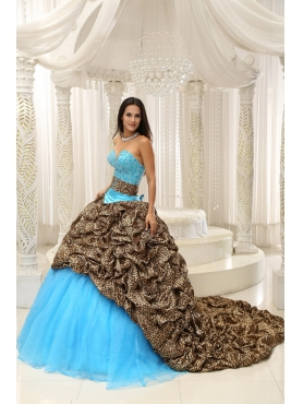 Discount Leopard and Organza Beading Sweetheart Neckline Exquisite Style For 2013 Quinceanera Dress