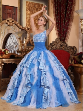 Discount Multi-color Ball Gown One Shoulder Floor-length Ruffles Quinceanera Dress