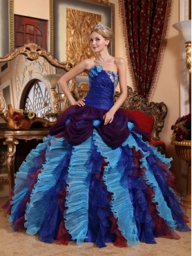 Discount Multi-color Ball Gown Strapless Appliques with Beading Quinceanera Dress