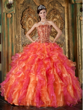 Discount Multi-Color Ball Gown Strapless Floor-length Organza Beading and Ruffles Quinceanera Dress