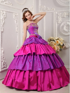 Discount Multi-color Ball Gown Strapless Floor-length Taffeta Appliques Quinceanera Dress