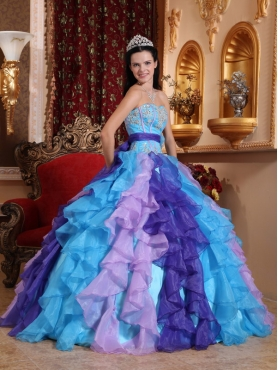 Discount Multi-color Ball Gown Sweetheart Floor-length Organza Beading and Appliques Quinceanera Dress