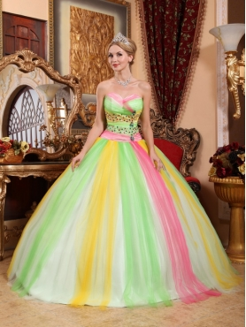 Discount Multi-color Ball Gown Sweetheart Floor-length Tulle Beading Quinceanera Dress