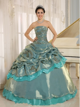 Discount Multi-color Embroidery Decorate Quinceanera Dress Clearance With Strapless