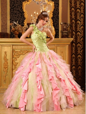 Discount Multi-Color One Shoulder Floor-length Taffeta And Organza Beading And Ruffles Quinceanera Dress