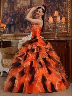 Discount Orange and Black Ball Gown Strapless Floor-length Organza Quinceanera Dress