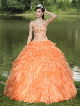 Discount Orange Quinceanera Dress Clearance With Sweetheart Beaded Ruffles Layered Decorate Organza