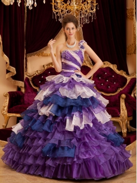 Discount Perfect A-line / Princess One Shoulder Floor-length Ruffles Quinceanera Dress