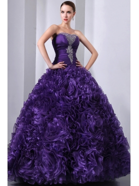 Discount Purple A-Line / Princess Strapless Beading Or and Hand Made Flowers Quinceanea Dress