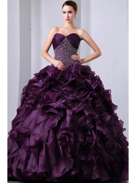 Discount Purple A-Line / Princess Sweetheart Beading and Ruffles Quinceanea Dress