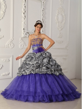 Discount Purple Ball Gown Strapless Chapel Train Zebra and Organza Quinceanera Dress