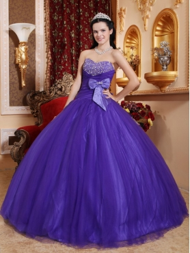 Discount Purple Ball Gown Sweetheart Floor-length Tulle and Tafftea Beading Quinceanera Dress