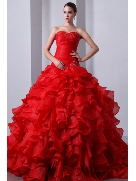 Discount Red A-Line / Princess Sweetheart Beading and Ruffles Quinceanea Dress