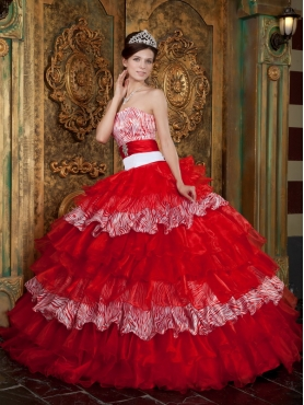 Discount Red Ball Gown Strapless Floor-length Organza and Zebra Ruffles Quinceanera Dress