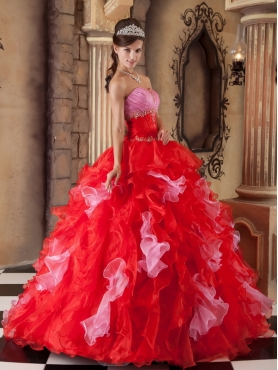 Discount Red Ball Gown Strapless Floor-length Organza Beading and Ruffles Quinceanera Dress