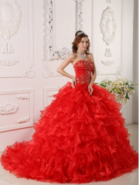 Discount Red Ball Gown Strapless Floor-length Organza   Ruffles And Embroidery Quinceanera Dress