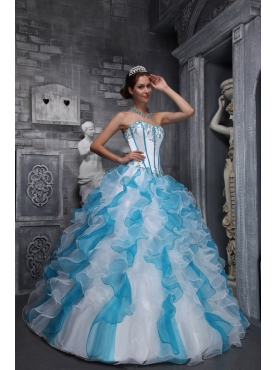 Discount Sweet Ball Gown Sweetheart Floor-length Taffeta and Organza Appliques White And Blue Quinceanera Dress