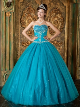 Discount Teal A-Line / Princess Sweetheart Floor-length Beading Tulle Quinceanera Dress
