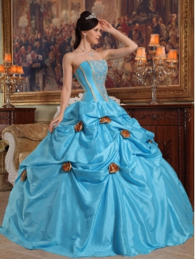 Discount Teal Ball Gown Strapless Floor-length Taffeta Beading and 3D Flower Quinceanera Dress