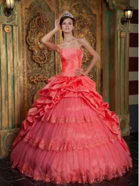 Discount Watermelon Ball Gown Sweetheart Taffeta and Tulle Lace Appliques Quinceanera Dress