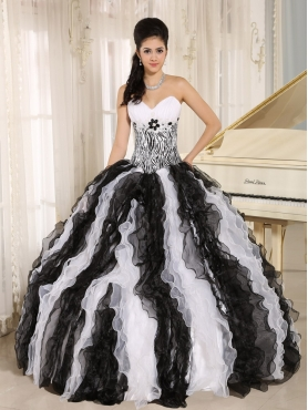 Discount White and Black Ruffles Quinceanera Dress With Appliques Sweetheart For Custom Made