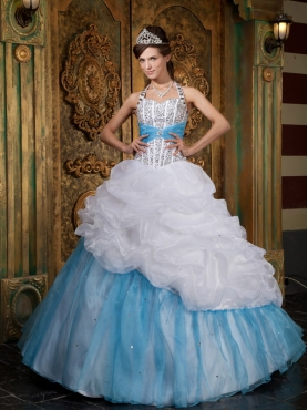 Discount White and Blue A-line / Princess Halter Floor-length Beading Quinceanera Dress
