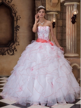 Discount White Ball Gown Strapless Floor-length Organza Embroidery Quinceanera Dress
