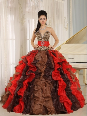 Discount Wholesale Multi-color 2013 Quinceanera Dress V-neck Ruffles With Leopard and Beading