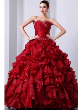 Discount Wine Red A-Line / Princess Sweetheart Beading and Rufffles Quinceanea Dress