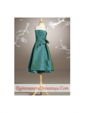 Discount cute straps floor-length ruche and bow little girl dress J507