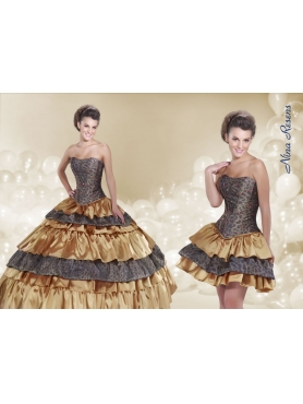 Discount 2014 Ball Gown Strapless Quinceanera Dress with Ruffled Layers and Beading