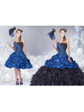 Discount 2014 Blue Ruffled Sweetheart Beaded Pick-ups Quinceanera Dress with Appliques