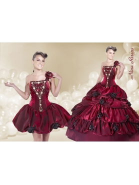 Discount 2014 Detachable One Shoulder Flowers Beading and Embroidery Quinceanera Dress