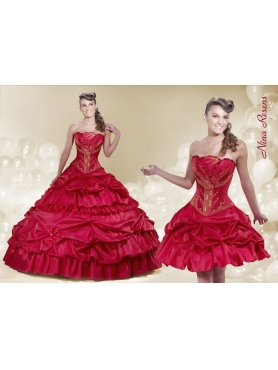 Discount 2014 Elegant Strapless Pick-ups Wine Red Quinceanera Dress with Beading
