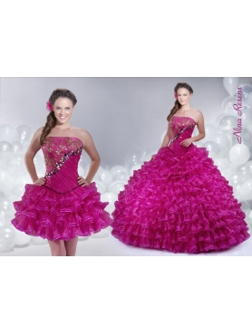 Discount 2014 Fuchsia Quinceanera Dress with Strapless Ruffled Layers and Beading
