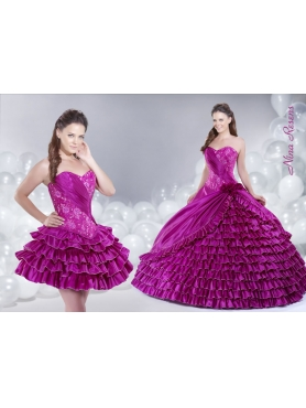 Discount 2014 Fuchsia Quinceanera Dress with Sweetheart Embroidery and Ruffled Layers
