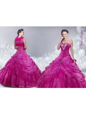 Discount 2014 Fuchsia Strapless Sequined Quinceanera Dress with Beading and Pick-ups