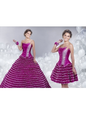 Discount 2014 Luxurious Fuchsia A-line Strapless Quinceanera Dress with Layers