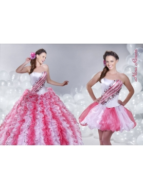 Discount 2014 Multi-Color Ruffled Strapless Quinceanera Dress with Beading