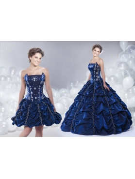 Discount 2014 Navy Blue Quinceanera Dress with Pick-ups and Beading
