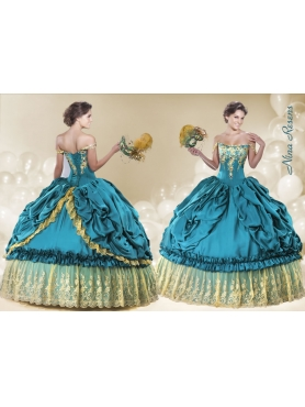 Discount 2014 Off The Shoulder Teal Quinceanera Dress with Embroidery and Pick-ups