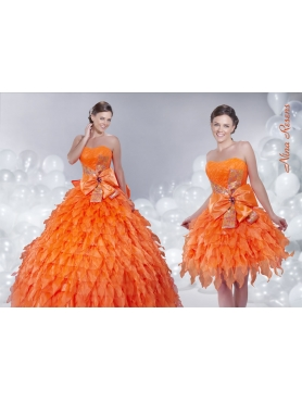 Discount 2014 Orange Sweetheart Quinceanera Dress with Ruffles and Bowknot