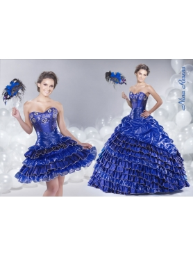Discount 2014 Organza Sweetheart Royal Blue Quinceanera Dress with Ruffled Layers