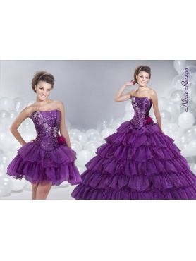 Discount 2014 Purple Ruffled Layers Quinceanera Dress with Beading Strapless