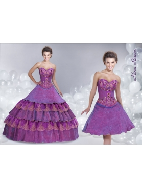 Discount 2014 Purple Sweetheart Appliques Quinceanera Dress with Beading and Layers